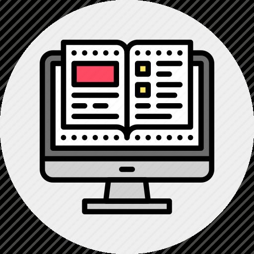 book, computer, online icon
