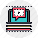 internet, learning, tutorial, video icon