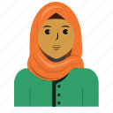 avatar, casual, muslim, person, user, woman icon