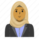 avatar, business, muslim, person, student, user, woman icon