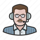 announcer, caucasian, glasses, man, mustache icon