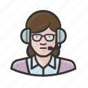 announcer, caucasian, glasses, woman icon