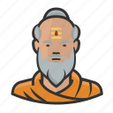 asian, beard, buddhist, monk icon