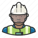 african, construction, glass, hardhat, man, safety, worker icon