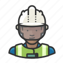 african, construction, glass, hardhat, safety, woman, worker icon