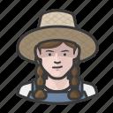 braids, caucasian, farmer, girl, hat, overalls, straw