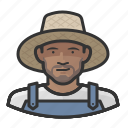 african, farmer, hat, man, overalls, straw icon