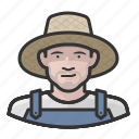 caucasian, farmer, hat, man, overalls, straw icon