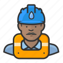 african, gas, hardhat, man, worker icon