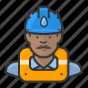 african, gas, hardhat, man, worker