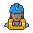 african, gas, hardhat, woman, worker icon