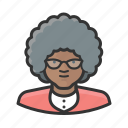 african, curly, elderly, granny, old, woman icon