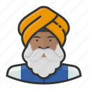beard, indian, sikh, turban icon