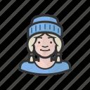 blond, braids, cap, girl, kid, stocking icon
