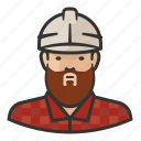 asian, beard, hardhat, man, plaid, shirt icon