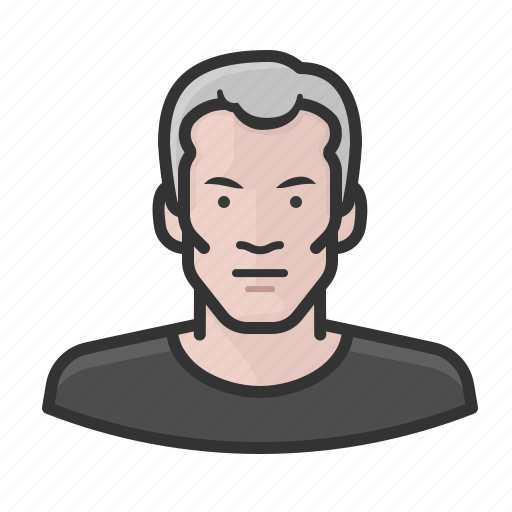 Caucasian, gray, hair, man, shirt, tee icon - Download on Iconfinder