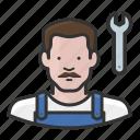 caucasian, man, mechanic, overalls icon