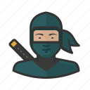 assassin, japanese, ninja, sword, woman icon