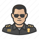 asian, man, officer, police, sunglasses icon