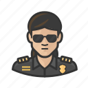 asian, officer, police, sunglasses, woman icon