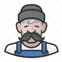 cap, man, mustache, old, overalls, sailor icon