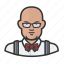 asian, bowtie, man, suspenders icon