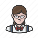 bowtie, caucasian, man, suspenders icon