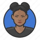 african, buns, hair, woman icon