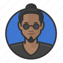 beatnik, glasses, goatee, manbun, asian