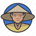 asian, cone, farmer, female, hat icon