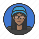 girl, glasses, knit, african, cap, braids