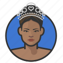 african, pageant, princess, royalty, tiara, woman icon