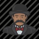 african, avatar, bowler hat, mustache
