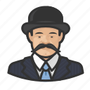 asian, avatar, bowler hat, mustache icon