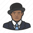african, avatar, bowler hat, suit icon