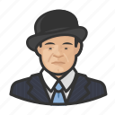 asian, avatar, bowler hat, suit icon