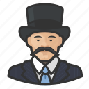 asian, avatar, mustache, tophat icon