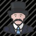 avatar, caucasian, mustache, tophat icon
