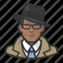 african, avatar, investigator, trenchcoat icon