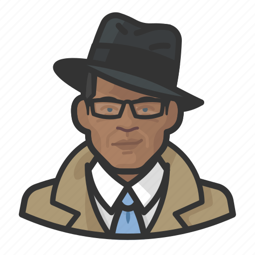 African, avatar, investigator, trenchcoat icon - Download on Iconfinder
