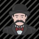 avatar, bowler hat, inspector, mustache