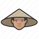 asian, cone, farmer, hat, man icon