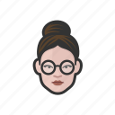 bun, glasses, hair, round, woman icon