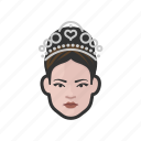 pageant, princess, royalty, tiara, woman icon