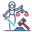 right, fair trial, court, gavel icon