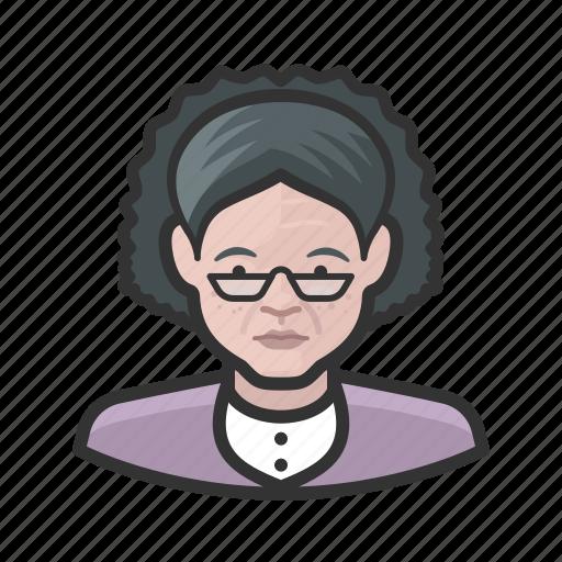 aging, elderly, female, white icon