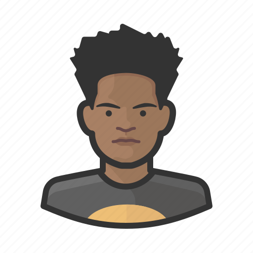 african, aging, avatar, male, teenager icon
