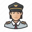 airline, asian, avatar, captain, female, pilot