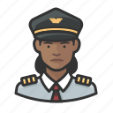 african, airline, avatar, captain, female, pilot icon