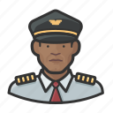 african, airline, avatar, male, pilot icon